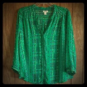 Old Navy Sheer Green Button-up Large